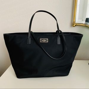 NWOT Kate Spade Black Large Nylon Leather Tote